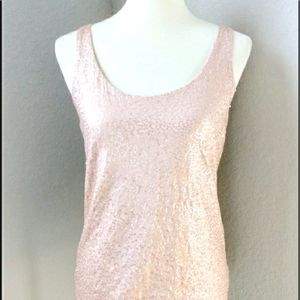 Talbots Sequins Tank Blush Nude Size Small